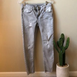 Light grey washed mid rise jeans